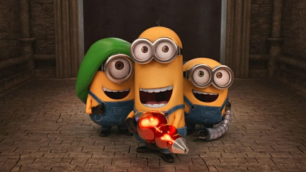 The minions seen on a movie night after redeeming gift cards for Christmas