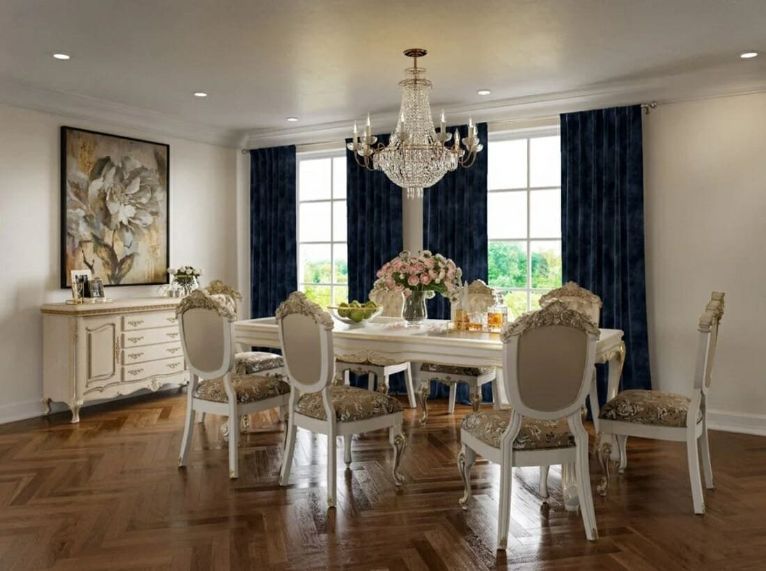 Traditional dining room with ornate chairs, buffet and dining table and blue velvet curtains