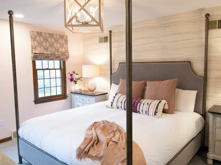 Transitional bedroom with a bohemian scatter pillow by Lisa Scheff - gift cards for Mother's Day