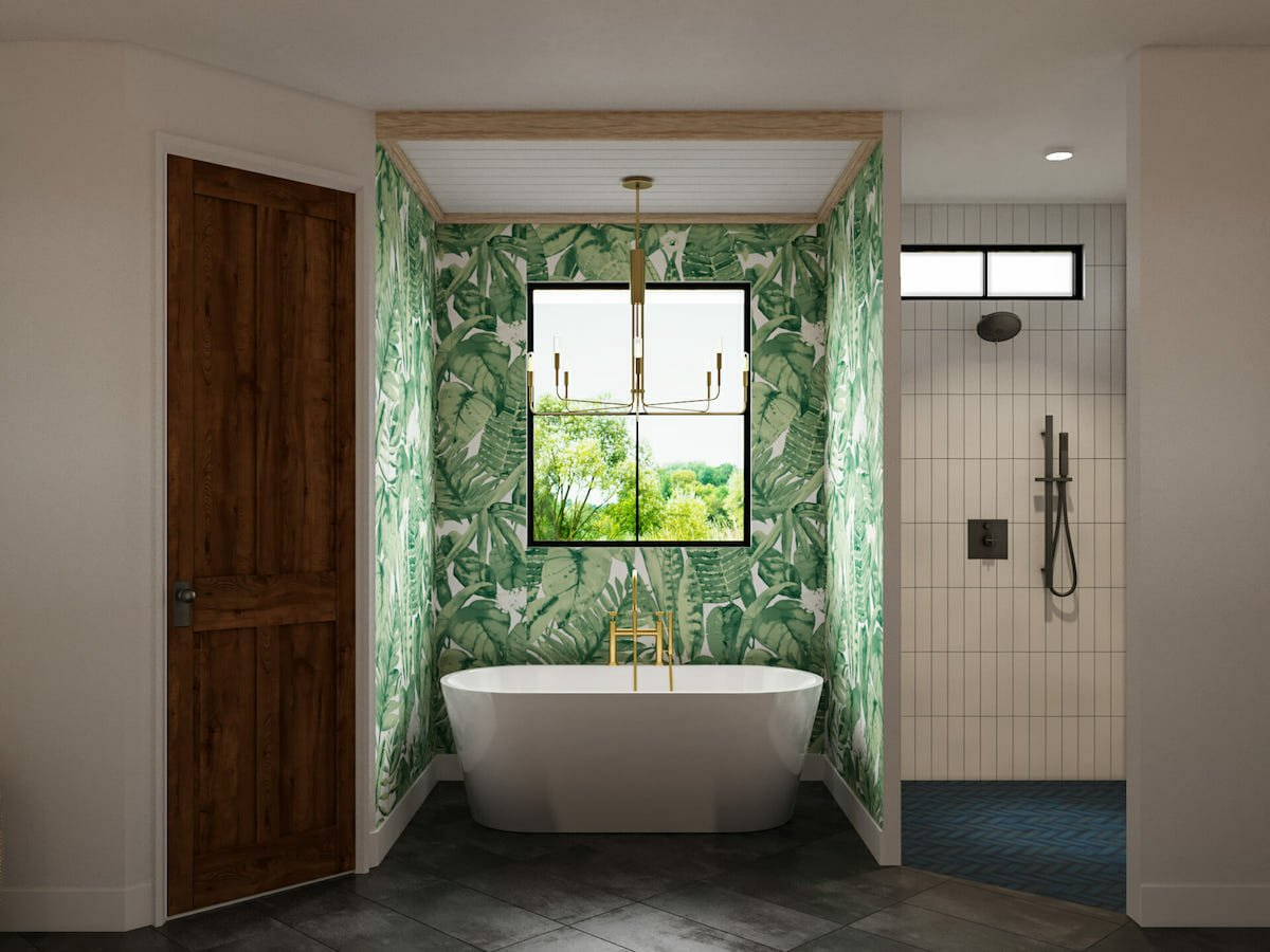 Tropical leaf bathroom wallpaper ideas by Sonia C
