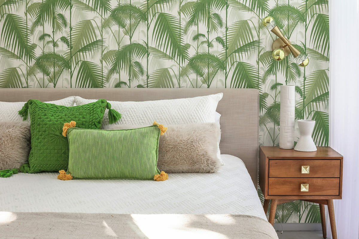 Tropical print wallpaper for a bedroom oasis