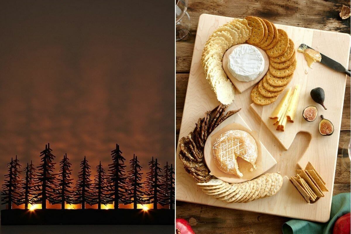 Unique candle holder and cheese board from an Unusual Goods gift certificate ideas