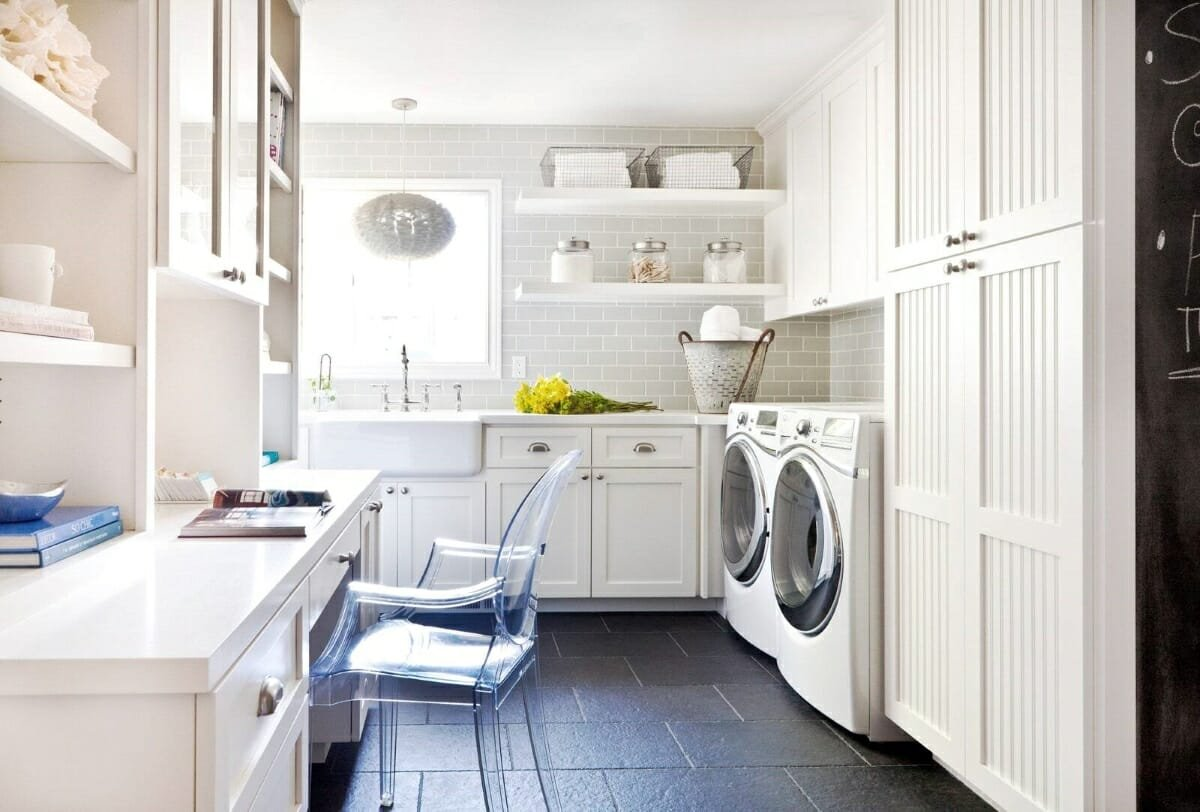 White And Clean Laundry Room Ideas