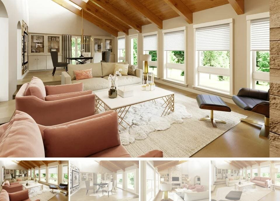 feminine open living and dining room design by Decorilla - interior design gift cards for mother's day