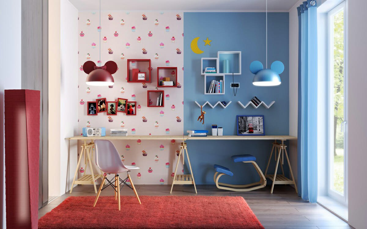 shared kids room wallpaper design idea