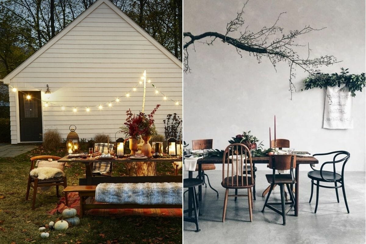 A Thanksgiving table setting indoors and outdoors as options to decorate for Thanksgiving