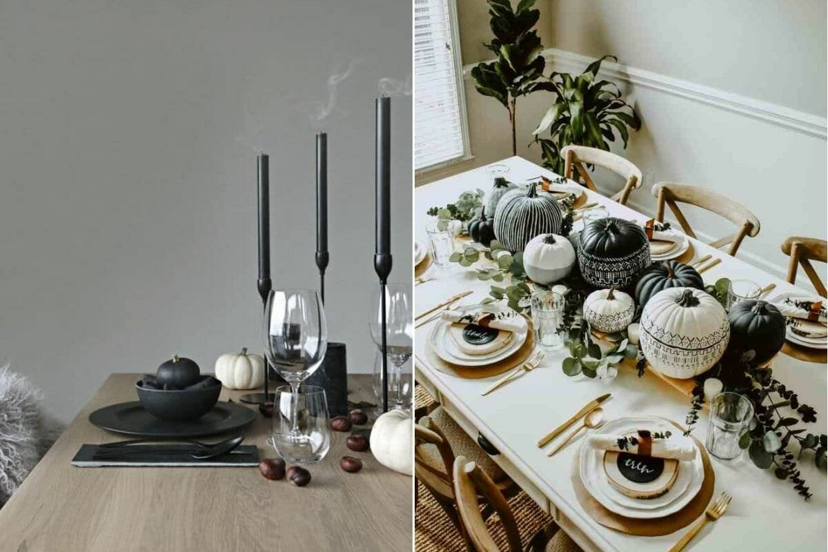 Black and white pumpkins for a Thanksgiving table setting