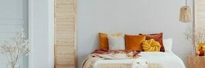 Burnt orange fall color scheme accents for the bedroom