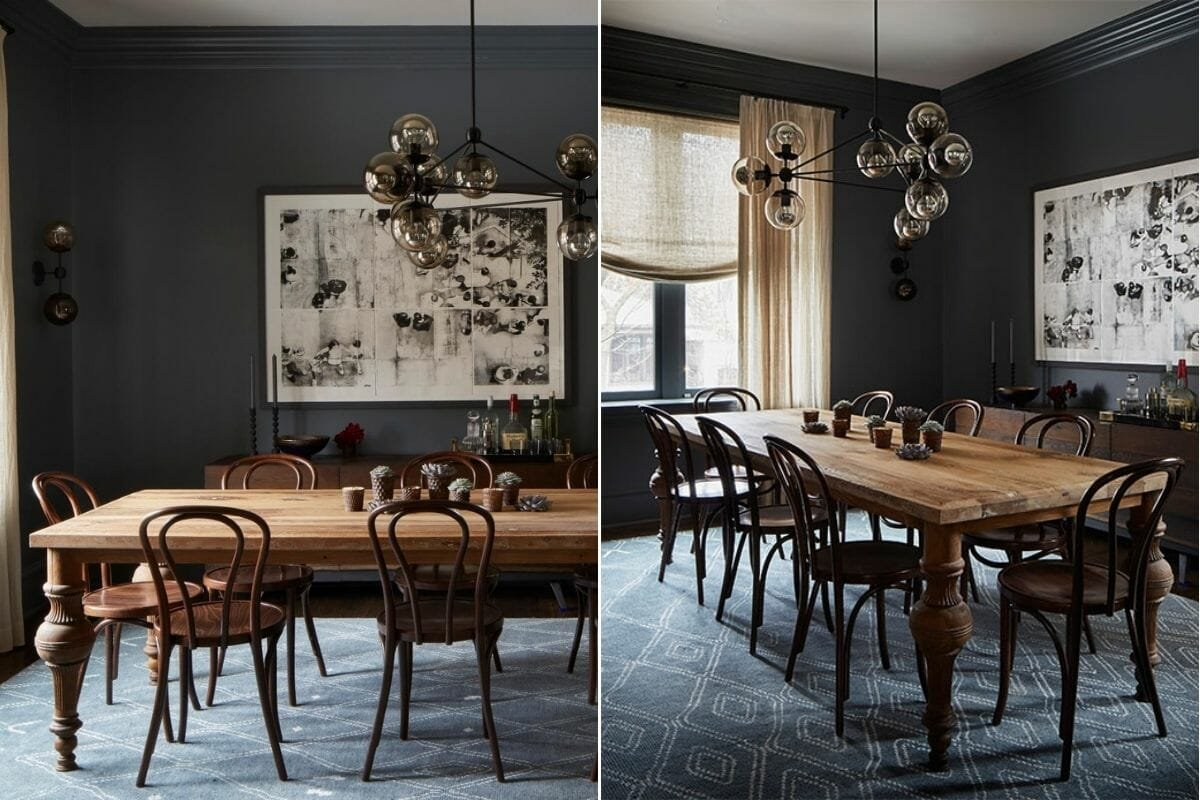 Charcoal color scheme for a dining room by 2to5 Design