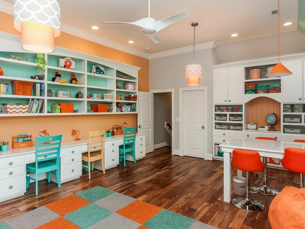 Colorful homeschool room ideas with teal and orange accents
