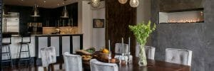 Contemporary grey dining room by Philadelphia interior designers team, Michele Plachter
