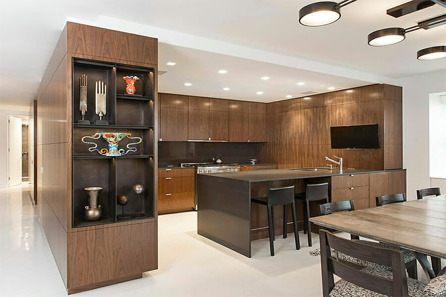Contemporary kitchen with brown autumn color scheme