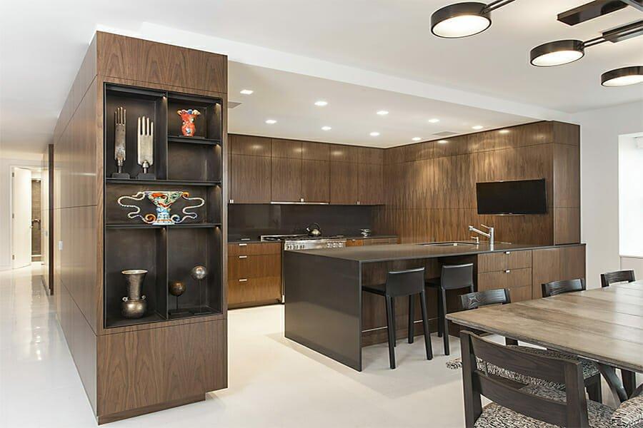 Contemporary kitchen with brown autumn color scheme