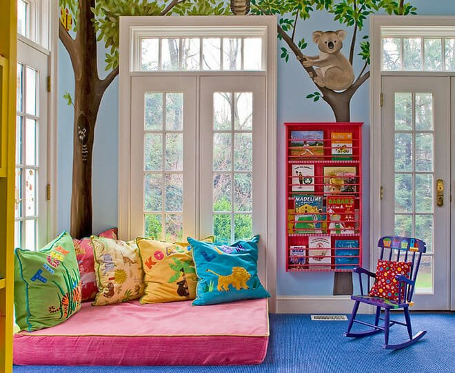 Cozy and colorful book nook for kids study space