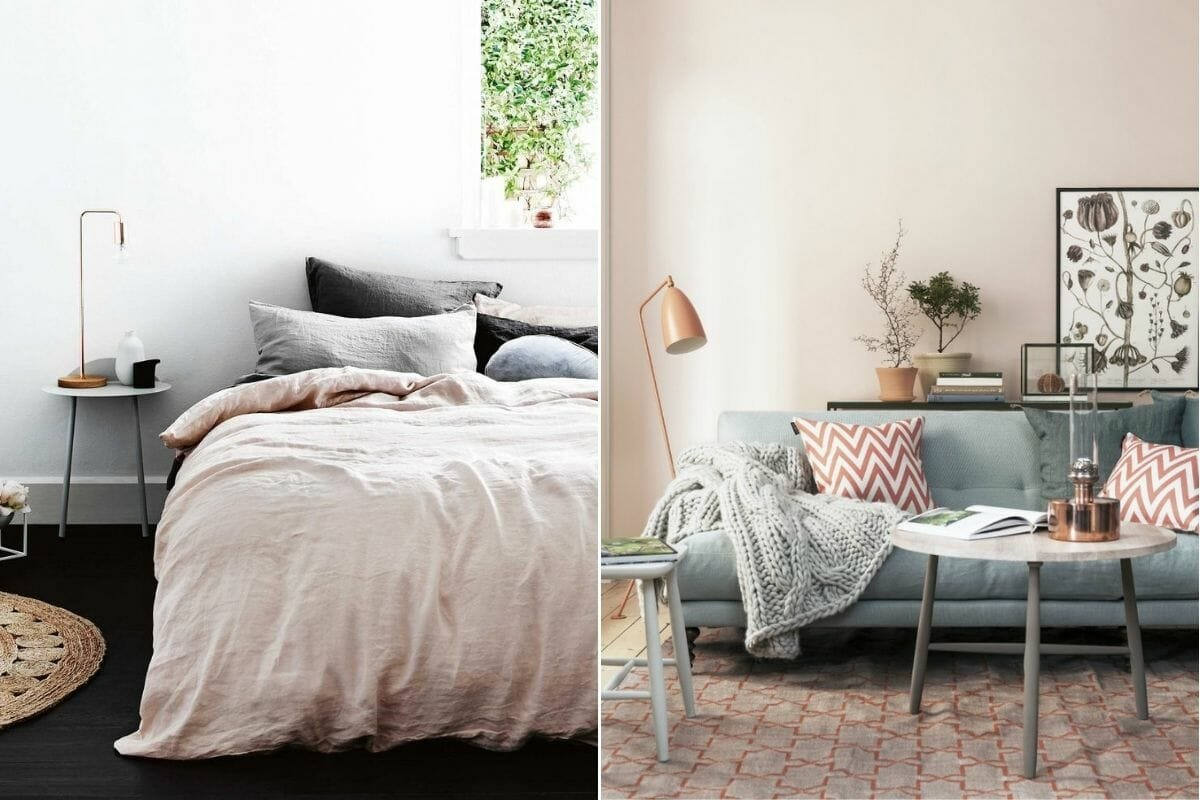 Dusty pink fall color schemes for a bedroom and lounge - Homedit