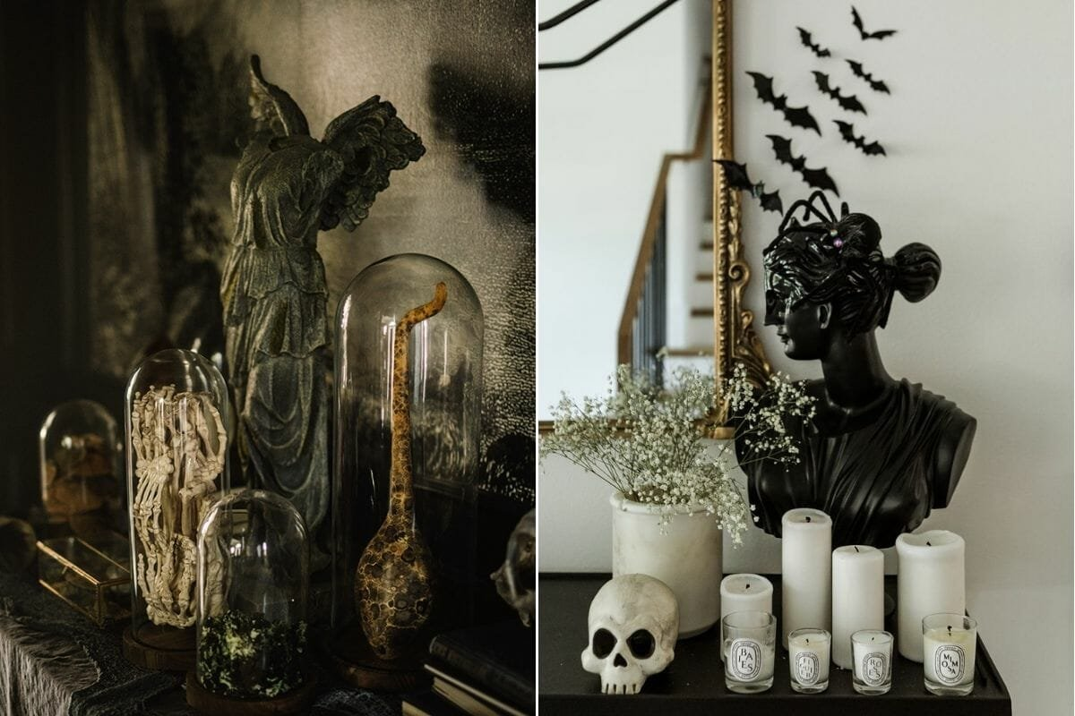 Eerie but chic Halloween decor in the form of statues