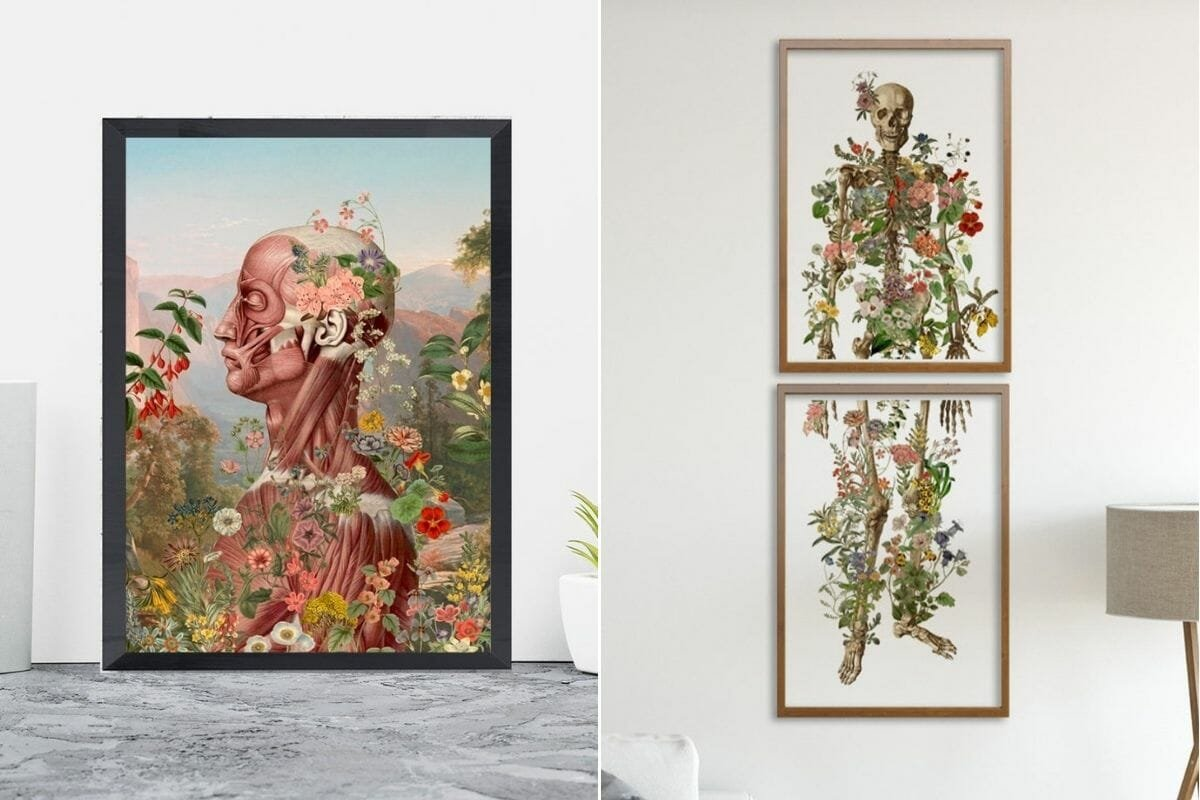 Floral illustrations with skeletons as chic halloween decor