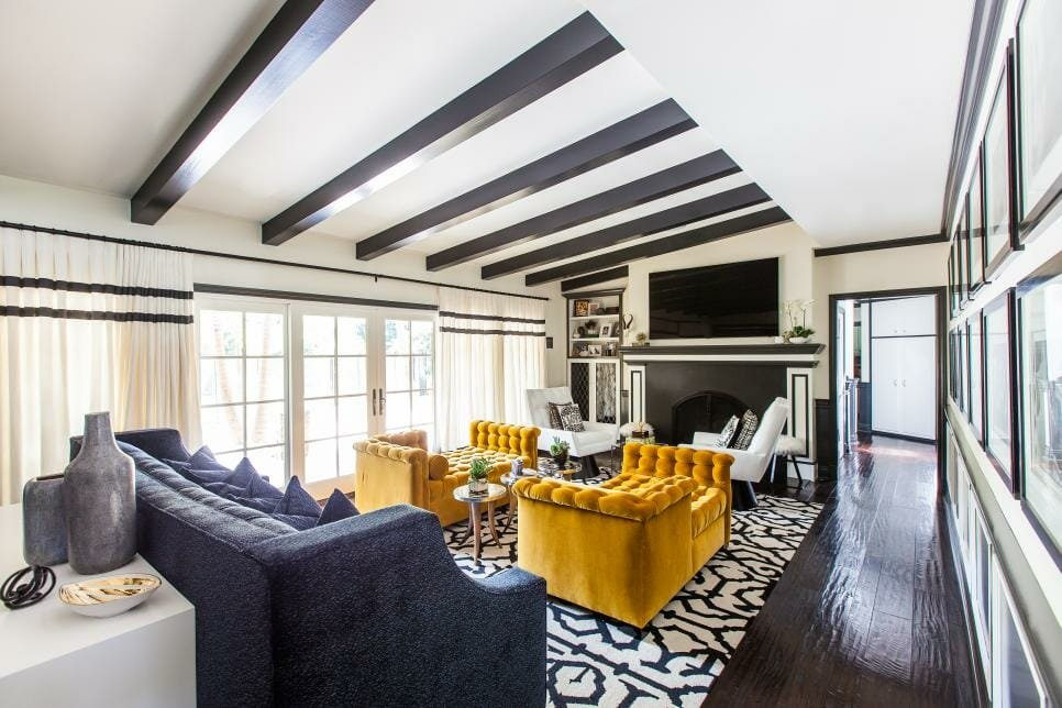 Formal living room in greyy and mustard - autumn color palettes HGTV