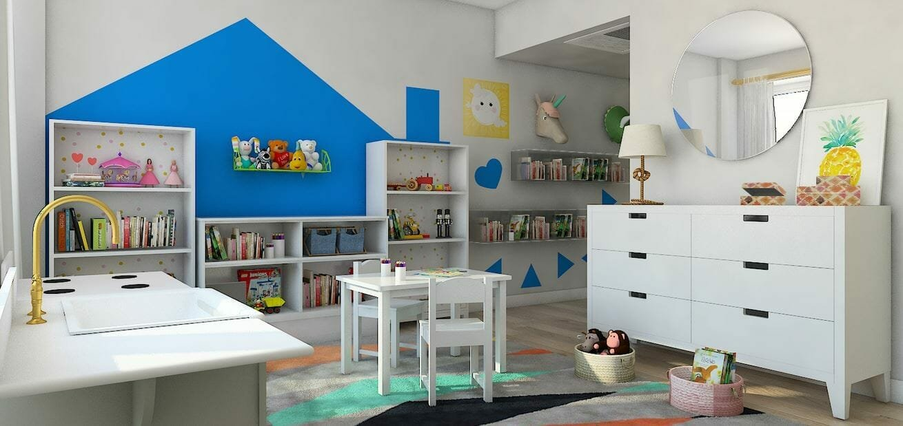 Fun and functional kid's homeschool room idea by Decorilla designer, Lindsay B.