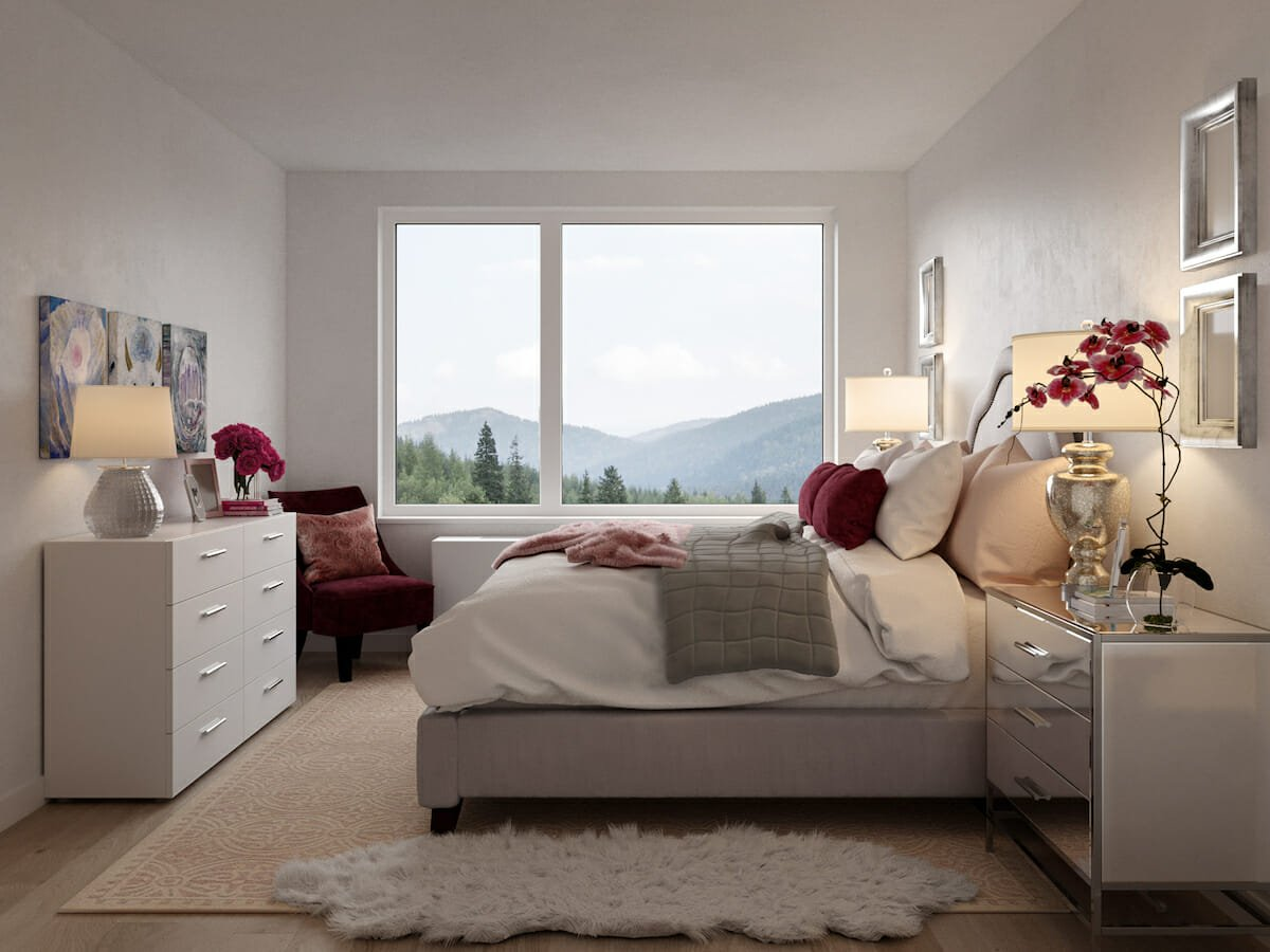 Master bedroom with eggplant accents
