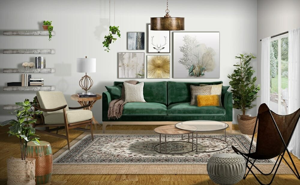 Mid century modern living room in green and brown fall color schemes by Marissa G
