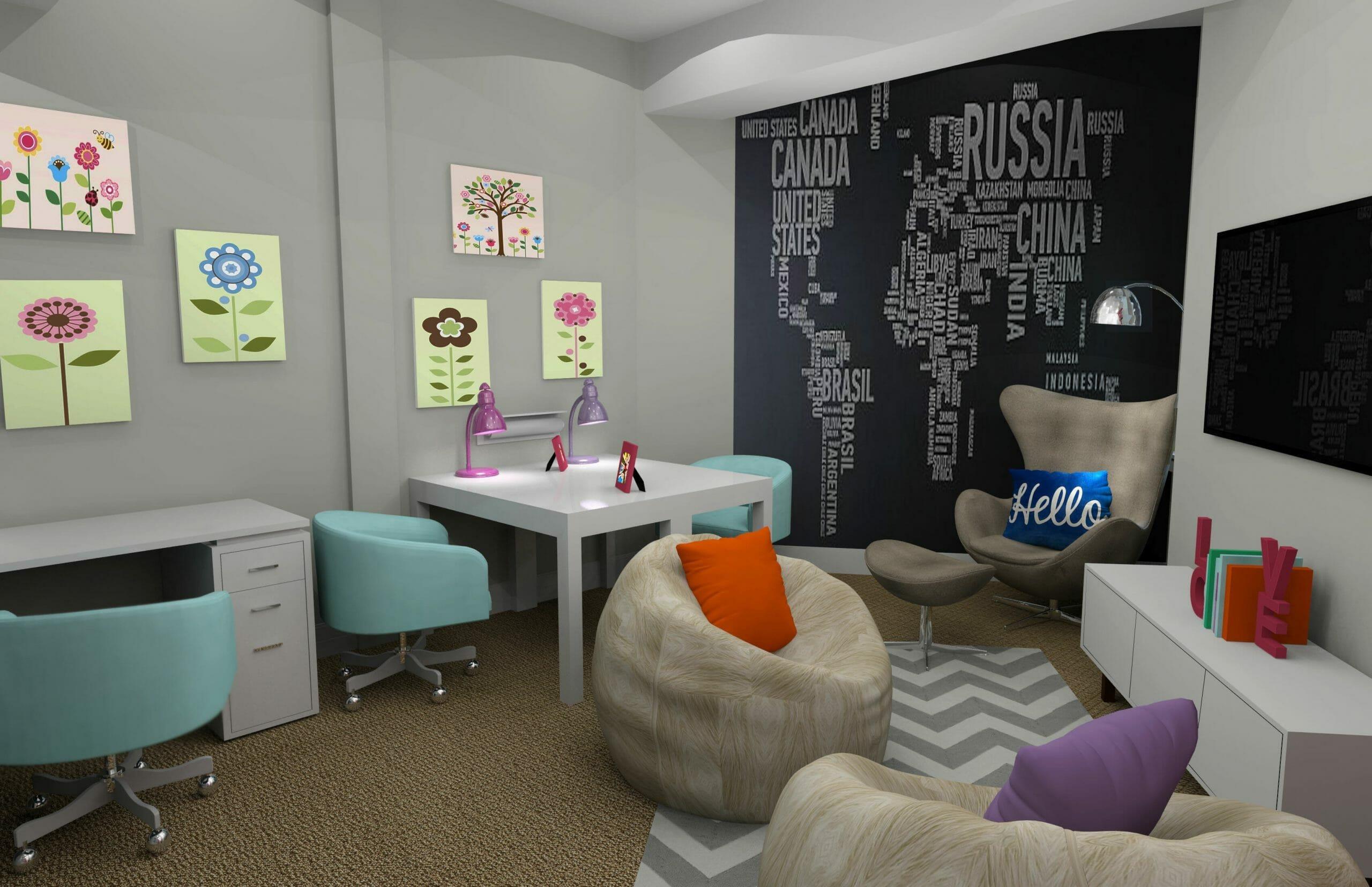 Modern and fun kids homeschool room ideas