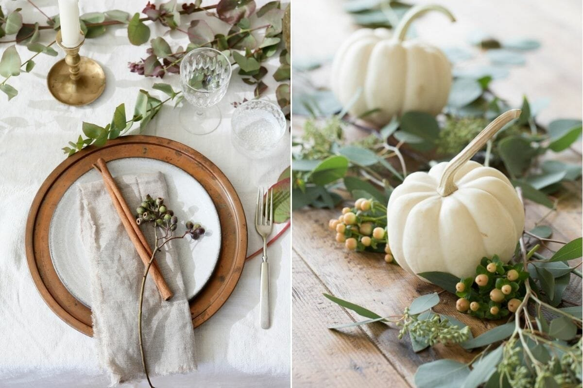Natural Thanksgiving decoration ideas for a table setting