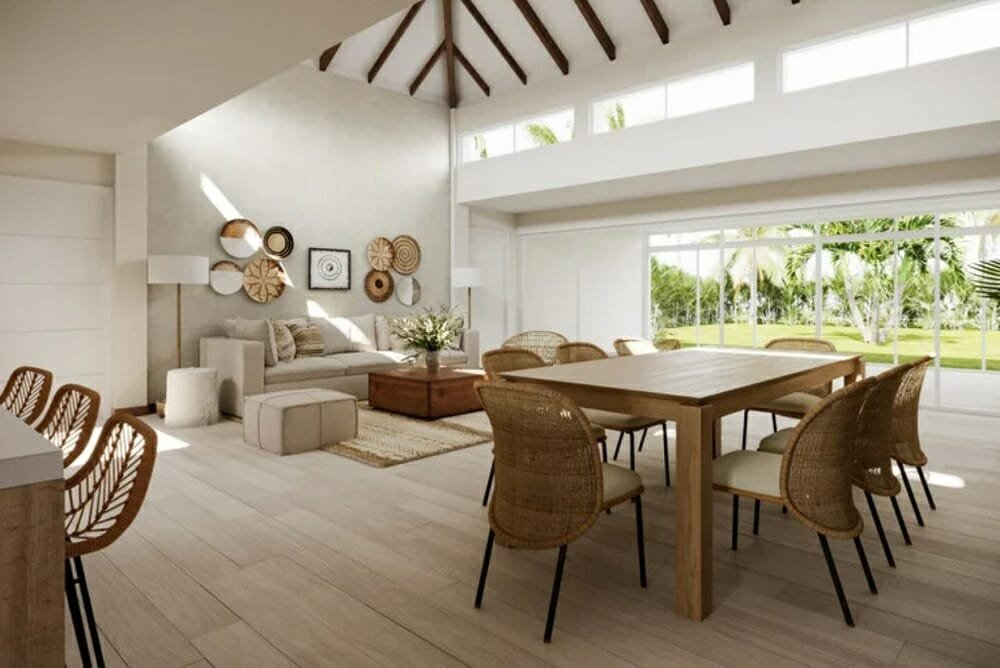 Open living and dining room in one of the popular white and wheat color schemes by Wanda P