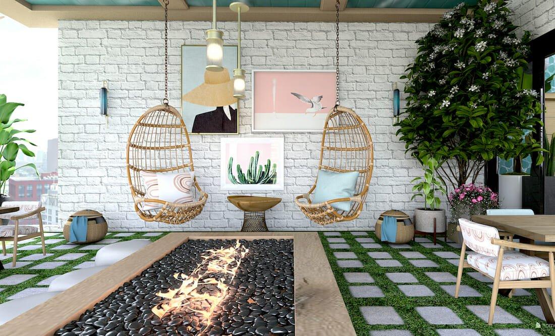 Outdoor seating by top charlotte interior designer Kristen W