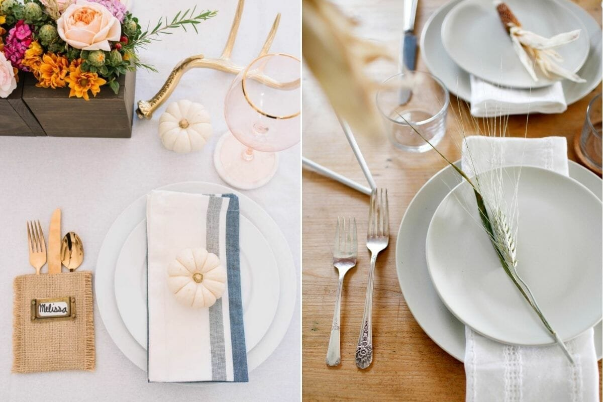 Simple and pretty Thanksgiving table décor in white