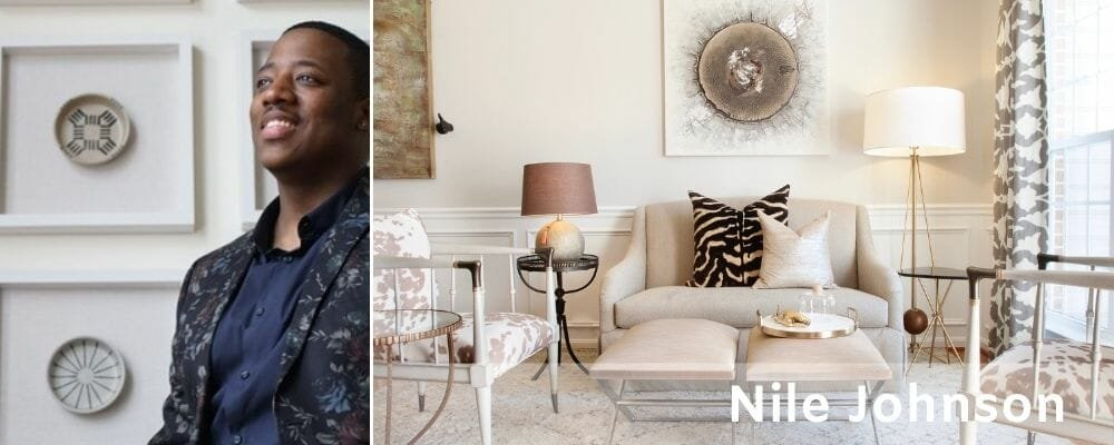 Sophisticated contemporary living room by Nile Johnson an interior decorator in Philadelphia