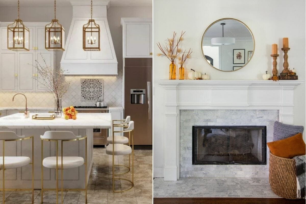 Thanksgiving decorating ideas in gold and white in a kitchen and above a mantelpiece