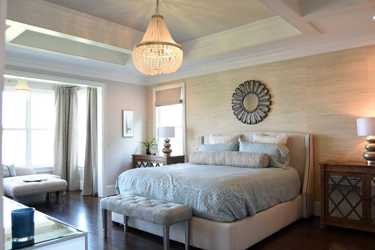 Transitional master bedroom retreat by top charlotte interior designer brook m