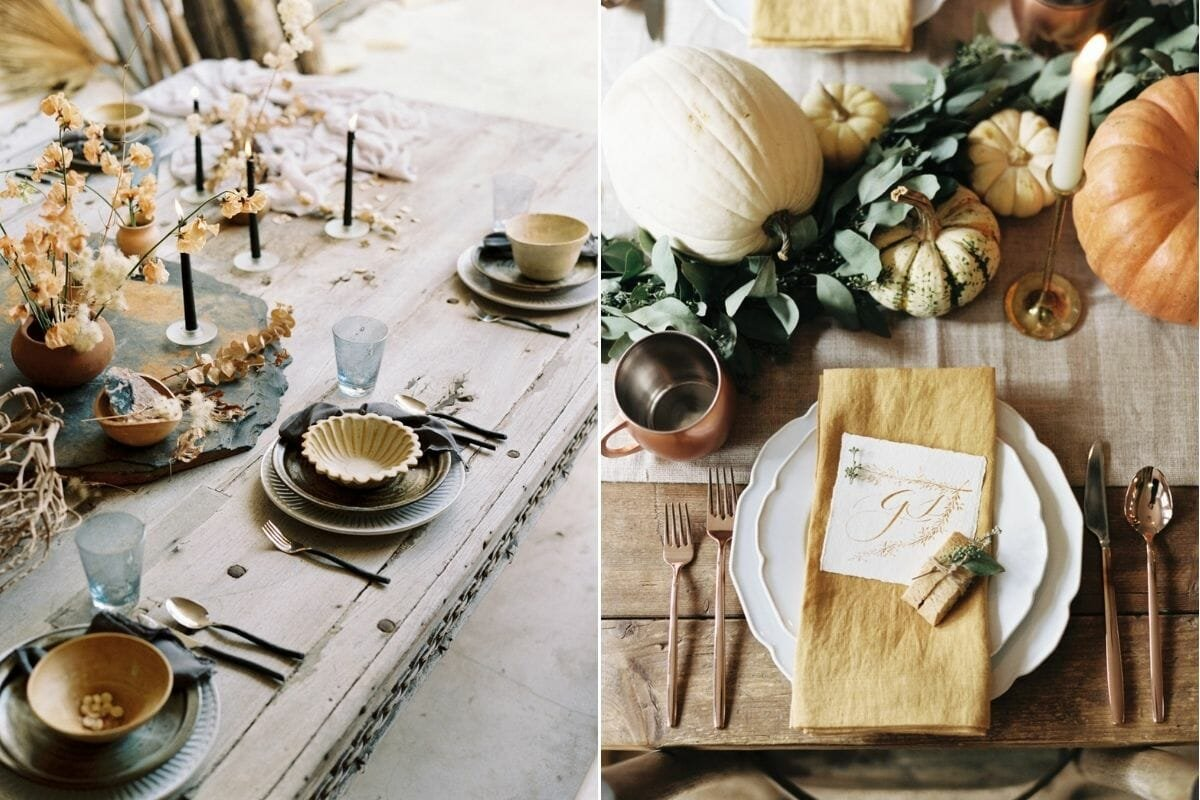 Yellow and orange Thanksgiving table décor