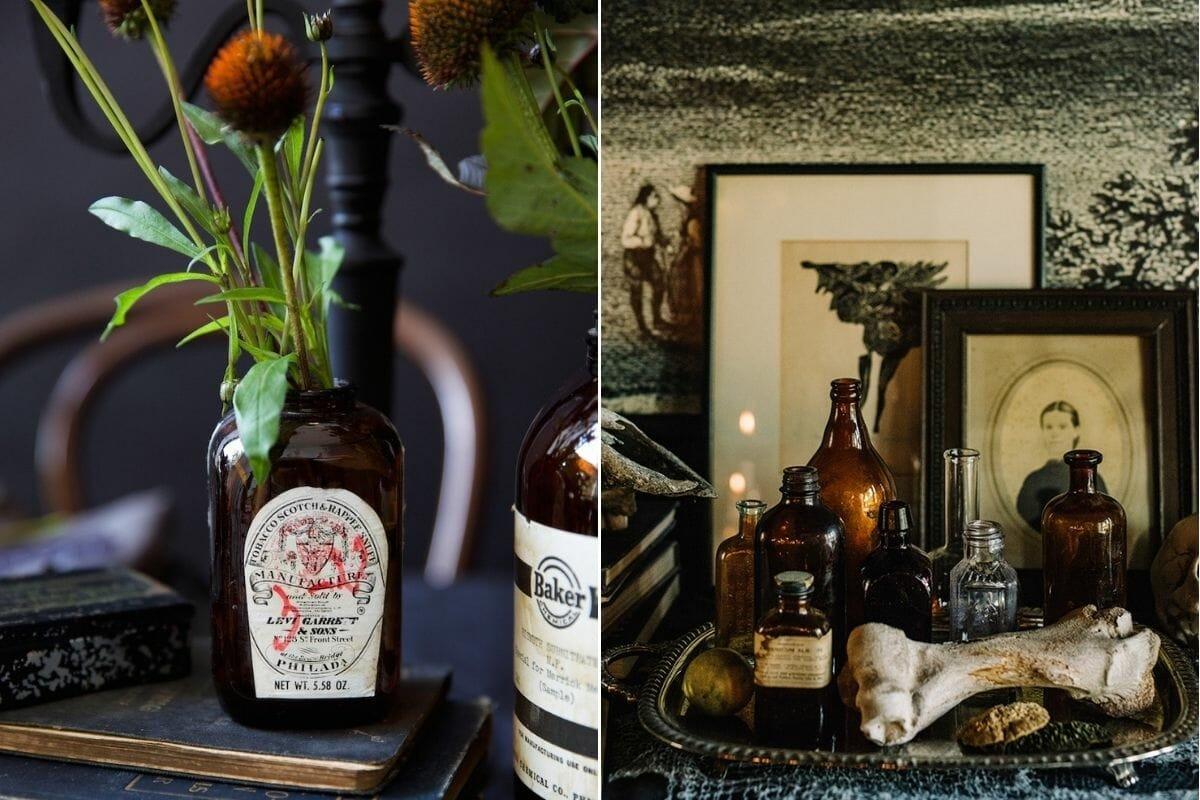 apothecary bottles - classy halloween decor ideas