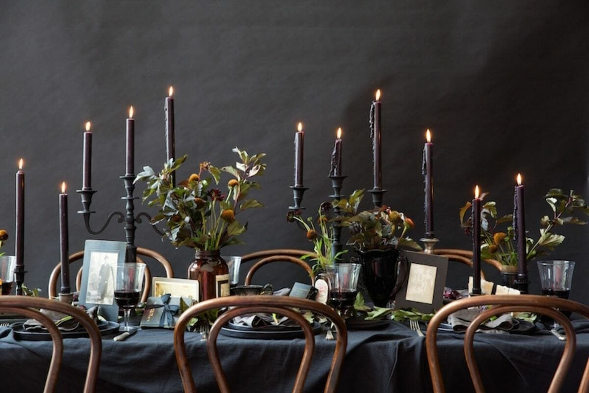 black candlestick on a elegant halloween decor table