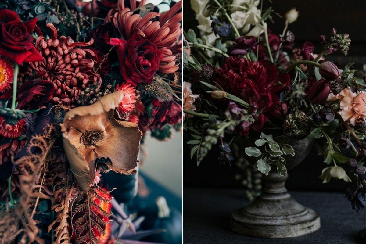 dark flowers chic halloween decor ideas