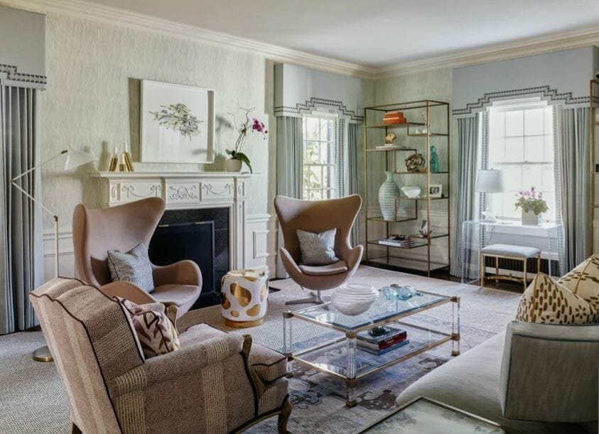 living room by top interior designer charlotte nc