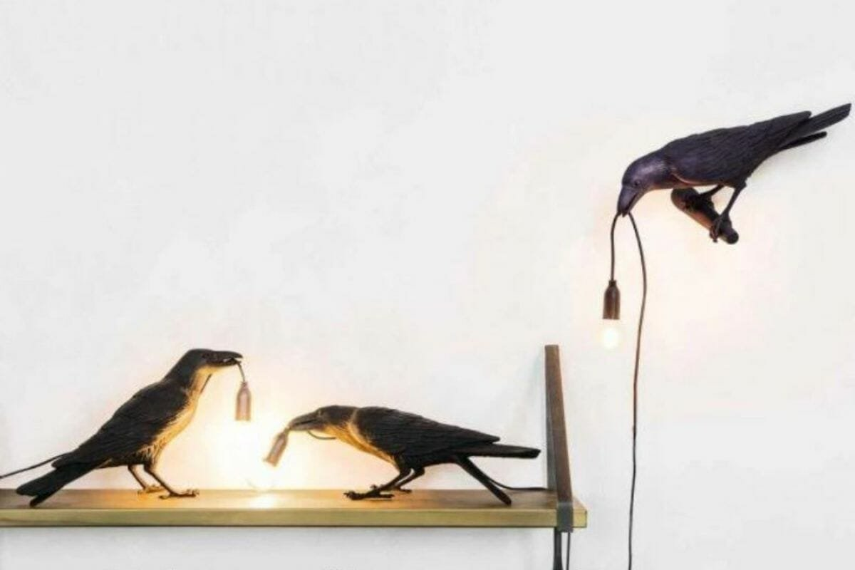 raven lamps as classy halloween decor