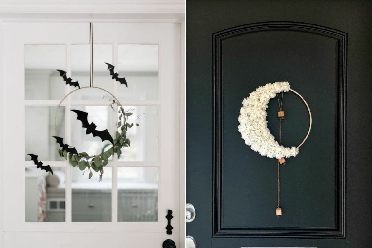 whimsical wreaths as cute and chic halloween decor