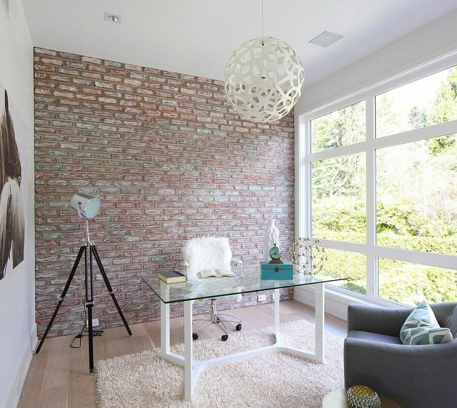 brick home office background