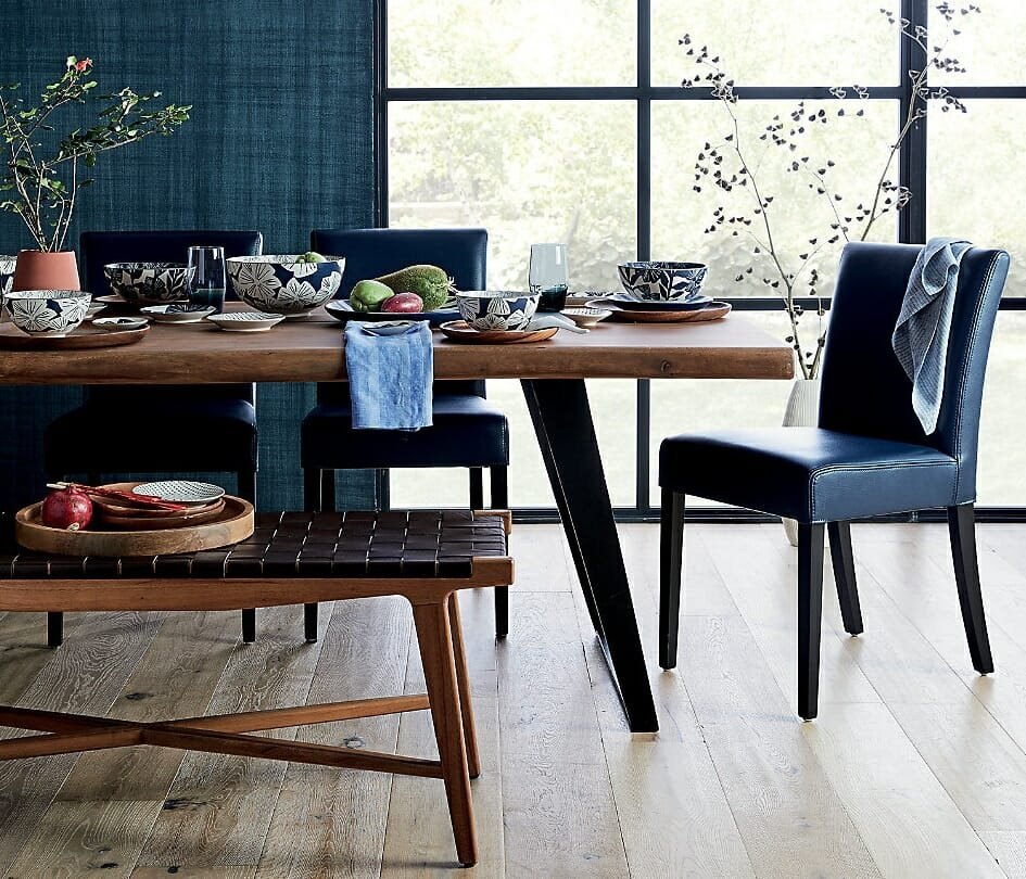 Crate and Barrel Cyber Monday dining furniture deals in blue