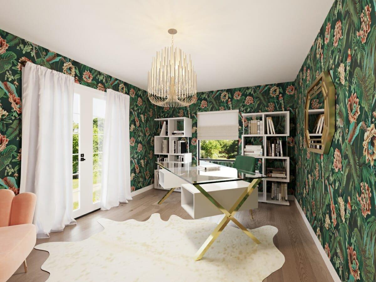 Home office background by Decorilla designer Farhoud