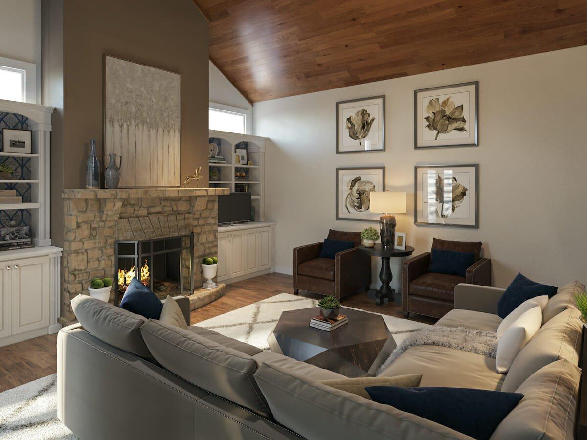 Modern Rustic family room by top Detroit interior decorator Rachel H.