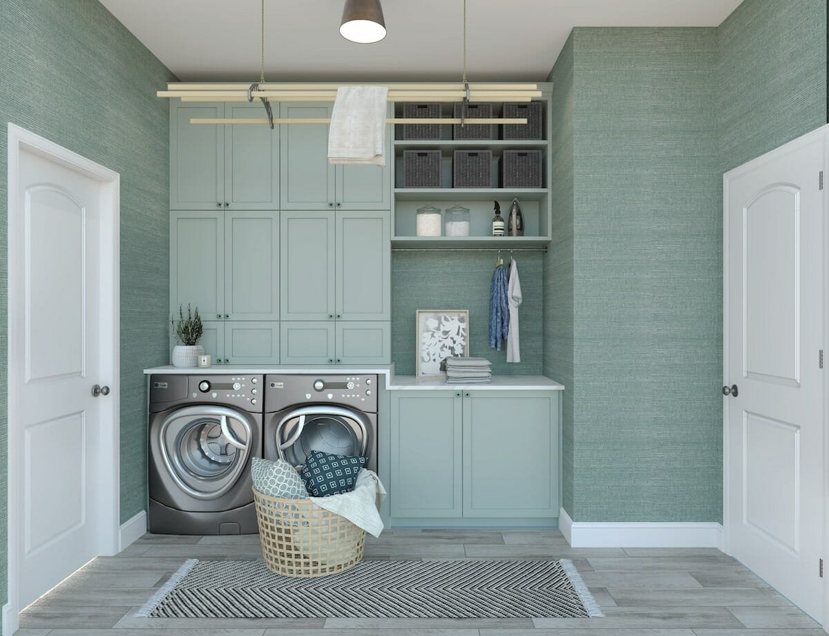 Seafoam green laundry room ideas with ample storage