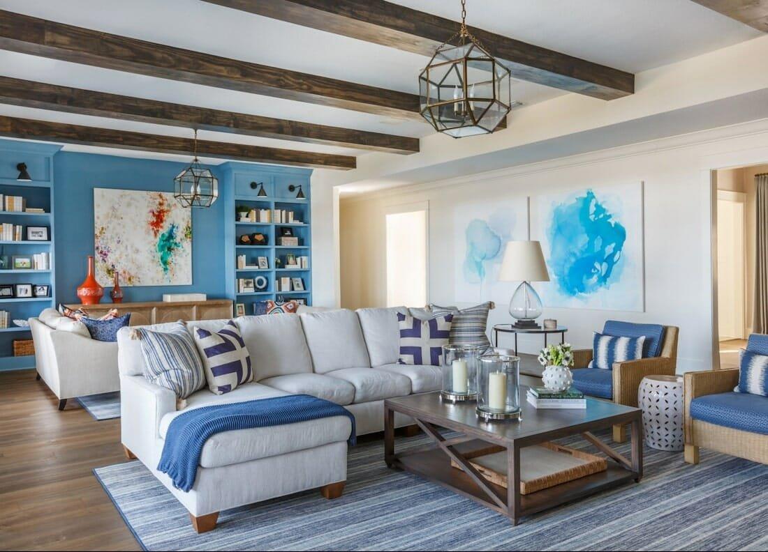 Vibrant transtitional living room by top Jacksonville intrior decorator Julie Schulte