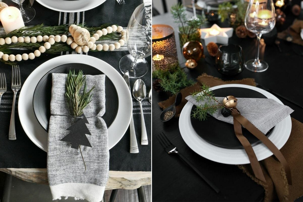 Bold and black Christmas decorations for a tablescape