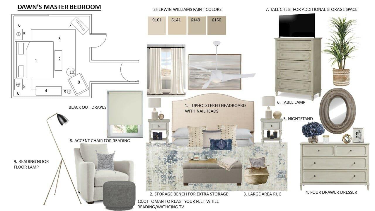 Coastal chic bedroom moodboard
