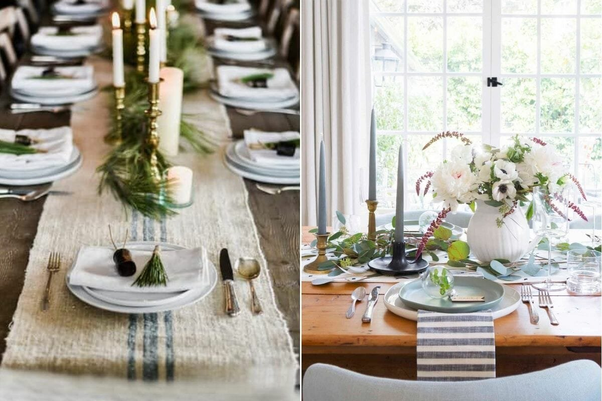 Coastal-themed Christmas decorations for the table