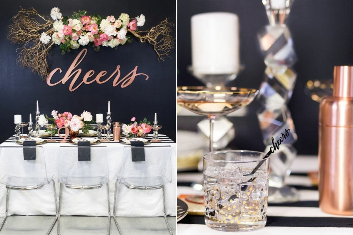 Decorate for New Year's Eve with cheers word decorations